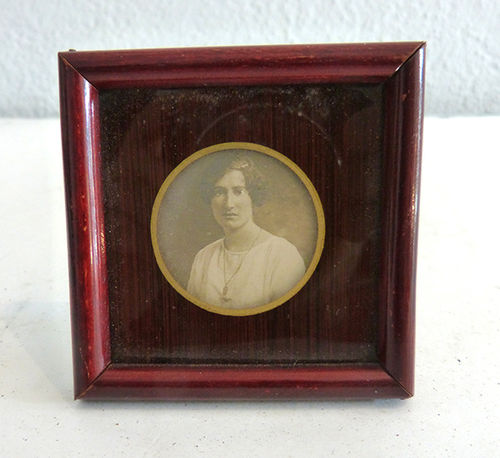 Framed small photograph of woman