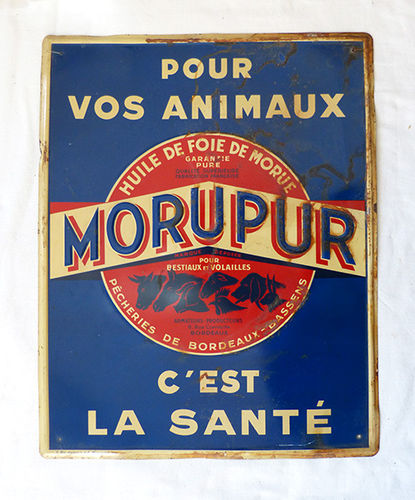 Metallic old advertising poster of Morupur