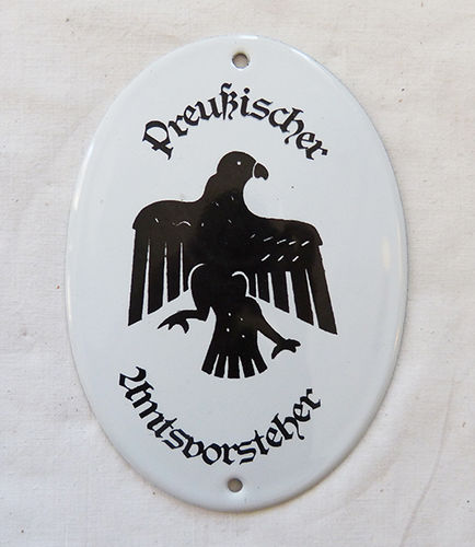 Enamelled metal plate of the Prussian government