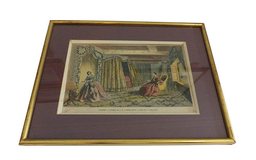 Picture with painted engraving from 1858